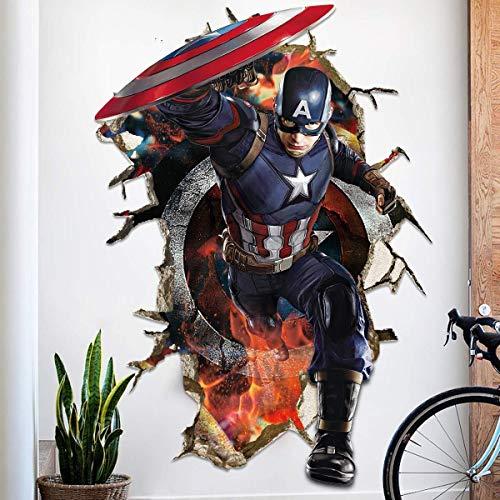 LCFF Wandtattoo 3D Wandaufkleber Wandbilder Iron Man Superheld Captain America Hulk Models Avengers Abziehbilder Tapete for Wohnzimmer Schlafzimmer-Kind-Raum 60 × 90cm (Color : B)