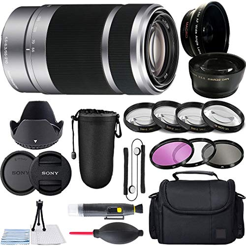 Sony E 55-210mm F4.5-6.3 OSS Lens for Alpha & E-Mount Mirrorless Digital Camera with Gadget Bag, Tulip Hood, 4X Macro Close-Up Kit, 3 Piece Filter Kit and A-Cell Accessory Bundle (Silver)