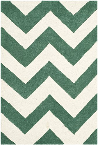 Safavieh Chatham Collection CHT715T Handmade Teal and Ivory Premium Wool Area Rug (2' x 3')