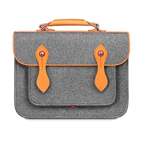 TOPHOME Wool Felt Briefcase Laptop Bag Messenger Satchel Backpack Handbag Compatible for 2020 new 13 inch macbook pro,Gray