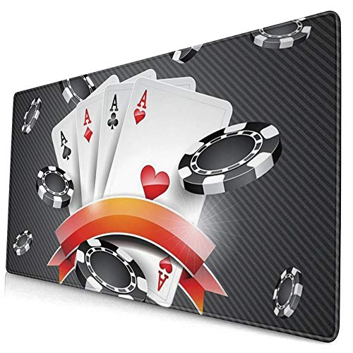 Mouse Pads Mat with Stitched Edges Poker Cards Tournament Art Natural Non-Slip Rubber Mousepad Desk Mat For Office Gamer & Gaming & Home 15.8x29.5 In