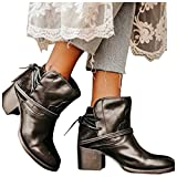 AODONG Boots for Women Round Toe Women's Platform Boots Squared Heels Motorcycle Boots Lace Up Strap Party Ankle Boots Black