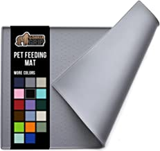 Gorilla Grip Silicone Pet Feeding Mat, Waterproof, Raised Edges to Prevent Spills, Easy Clean Dogs and Cats Slip Resistant Placemat Tray to Stop Food and Water Bowl Messes on Floor