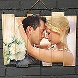 Wood Expression Foto Cuadro Personalizado alistonado en Madera Natural con impresión de tu fotografía preferida. (45x35 cm.)