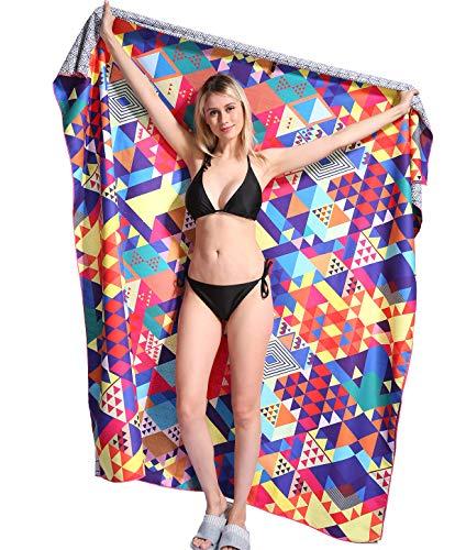 Toallas de Playa Muy Grandes Doble de Antiarena de Microfibra para Hombre Mujer, 183x183cm, Toallas Baño Calidad Gigante Secado Rapido para Piscina, Manta Playa, Toalla Yoga Deporte, Geometría