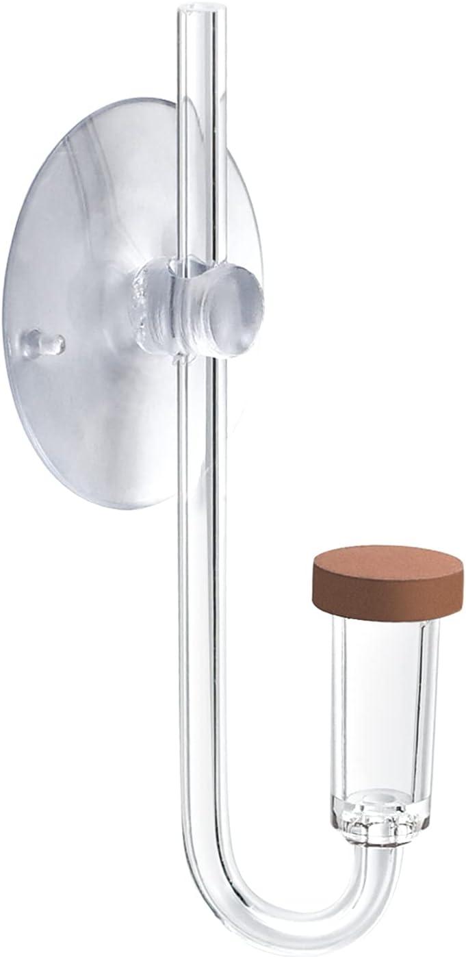 Julyee Diffusore di CO2 Acrilico Trasparente, Acquario Bubble Pietra Porosa con Tubo di Collegamento a Forma di U per Acquario Piantato