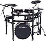 Roland High-performance, Mid-level Electronic V-Drum Set (TD-25KVX) with 12' snare pad, 10' tom pad (x3), 12' crash v-cymbal (x2), KD-180 kick pad, and MDS-9SC stand