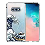 Galaxy S10e Case, Unov Clear with Design Soft TPU Shock Absorption Slim Embossed Pattern Protective Back Cover for Samsung Galaxy S10e 5.8in (Great Wave)