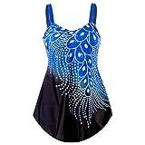 Conjuntos de Traje de Baño de Mujer de Dos Piezas Conjunto de Bañador Verano con Pluma de Diamante Casual con Pantalón Corto Talla Grande para el Mar Piscina Fiesta ( Color : Blue 1 , Size : Medium )