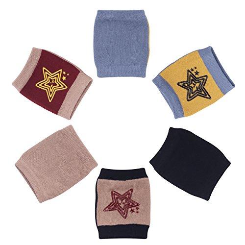 Camilife Camilife 3er Pack Baby Krabbeln Knieschoner Anti-Rutsch Baumwolle Gestrickt Junge Mädchen Knieschützer mit Gummipunkte, 3-36 Monate (Set B) Sternen Pattern
