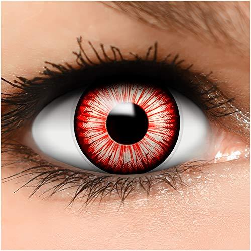 Farbige Kontaktlinsen Walking Zombie in weiß schwarz rot + Behälter - Top Linsenfinder Markenqualität, 1Paar (2 Stück)