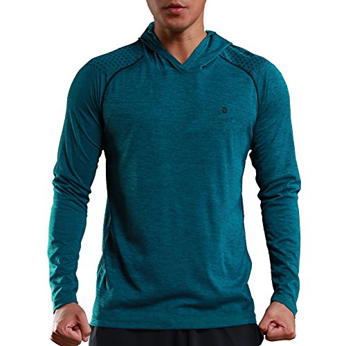 Gerlobal Mens Gym Workout Active Muscle Bodybuilding Long Sleeve Hoodies Casual Hooded Sweatshirts Blue,Large