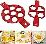 Moldes de Silicona Pancake,2 PCS Moldes para Panqueques para Hornear Antiadherente Cazador de Huevos para Panqueques Muffins Huevos Magdalenas Pastelería Corazón Redondo y Forma de Estrella