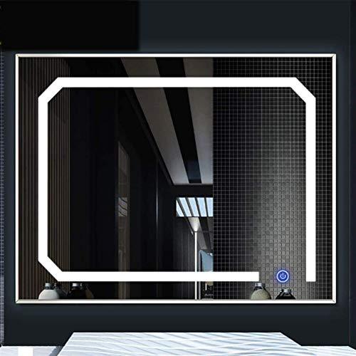 60x80cm Cuarto de baño LED Espejo de la luz Marco de aluminio montado en la pared Espejo de aderezo de belleza con interruptor táctil Desfobloging / Pantalla de tiempo Anti Niebla montada en la pared