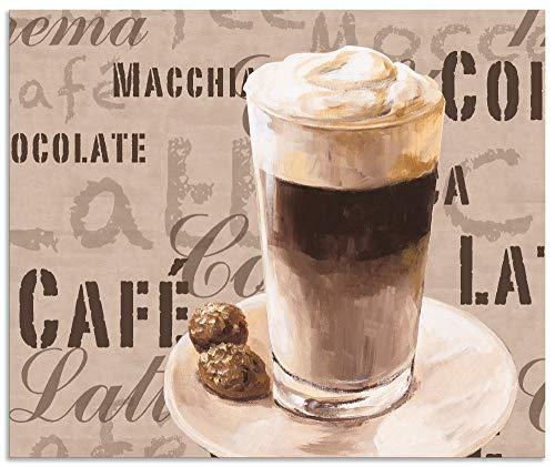 Artland Spritzschutz Küche aus Alu für Herd Spüle 60x50 cm Küchenrückwand mit Motiv Spruch Getränke Kaffee Creme Kaffee Latte Macchiato S7LV