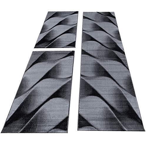 SIMPEX Bettumrandung Läufer Set Teppich abstrakt Wellen Muster 3 Teilig Schlafzimmer Flur Schwarz Grau meliert, Bettset:2x80x150+1X80x300