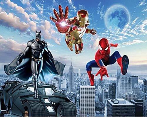 Benutzerdefinierte 3d-fototapete 3d-wandbild Avengers Kinderzimmer Wand Schlafzimmer Junge Hintergrund Superman Batman Spiderman Selbstklebend