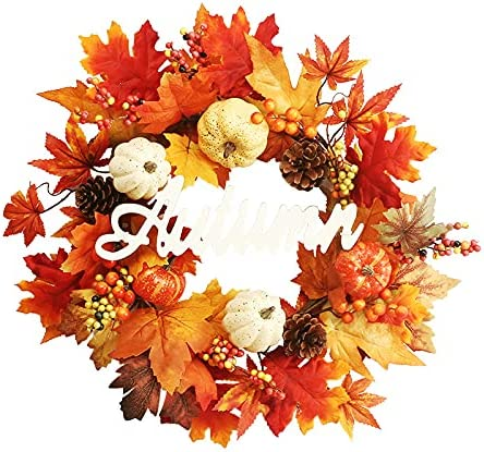 Lopxo Fall Wreath - 17 ! Super beauty product restock quality top! Inch Pumpkin Maple with Leaf Max 41% OFF Berri