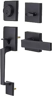 Black Front Door Handle Set, Single Cylinder HandleSet with Lever Door Handle