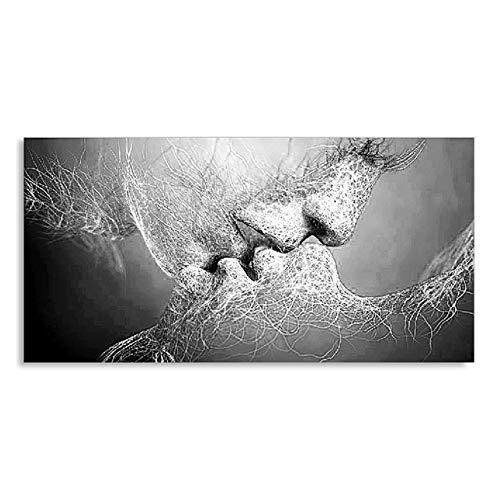 zxianc Mode Schwarz Weiß Liebe Kuss Abstrakte Kunst Auf Leinwand Malerei Poster Wandkunst Bild Druck Home Wanddekoration Bilder 27,5