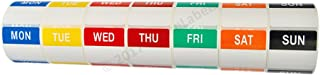 Ships Fast 1 Set (7 Rolls, 1 per Day) of Day of The Week Labels (500 Labels per roll, 40mmx40mm) - BPA Free!