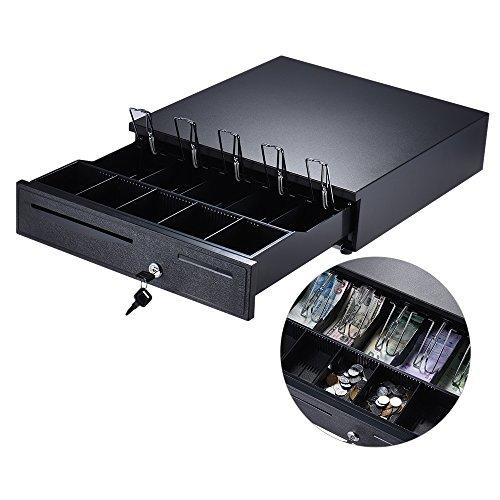 Aibecy Schwerlast Kassenschublade Cash Drawer, 5 Einstellbar Scheinfächern 5 Münzfächern, Elektrisch / Manuell Push Öffnen Tastensperre DC12V 24V RJ11 Stecker für POS Drucker Registrierkasse Schwarz
