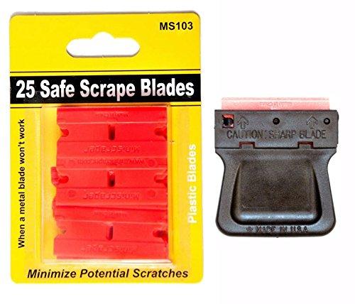 Mini Razor Blade Scraper with 25 Plastic Double Edged Razor Scraper Blades