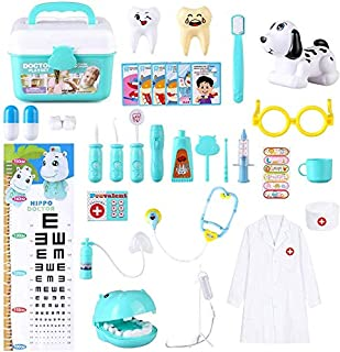 BeebeeRun Doctor Kit for Kids - Pretend Play Dentists and pet Doctors Toy, Medical Toys with Electronic Stethoscope in Car...