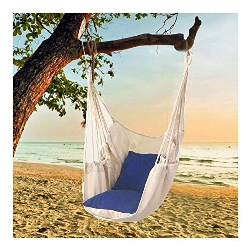 Outdoor home pillow hanging chair Hammock Chair, Swing Chair Seat Comfortable Garden Swing Seat Seat Hammock with Pillow Indoor Rope Hammock Chair with Cushion Canvas, Patio Seat swinging hammock chai