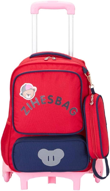 BYGenMai Schultrolley Schulranzen Grundschüler Trolley Rucksack wasserdichte Kinder auf Reisen mit sechs Rdern,A