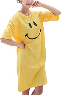 Elegeet Smiley Face Womens T-Shirt Swimsuit Cover Up Home Dress