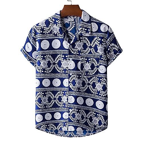 Camisa Hombres Verano Transpirable Fresco Regular Fit Hombres Manga Corta Vacaciones En La Playa Hombres Casuales Camisa Hawaii Natación Surf Hombres Camisas Ocio M-XH46 3XL