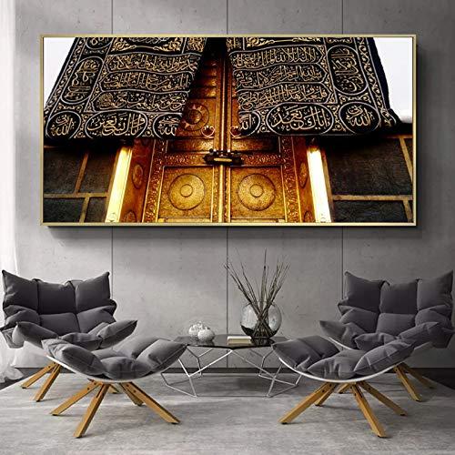 BailongXiao Plakate und Leinwanddrucke der Mekka-Moschee schmücken das Wohnzimmer mit Einer heiligen Kaaba,Rahmenlose Malerei,30x60cm