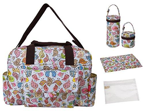 ECOSUSI Multifunktionale Mama-Beutel-Baby-Wickeltaschen Windel Rucksack 5-teiliges Set Wickeltasche Wickelunterlage PVC-Beutel Flaschenbeutel Pacifier bag