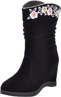 ELEEMEE Women Classic Wedge Heels Slouch Boots Pull On