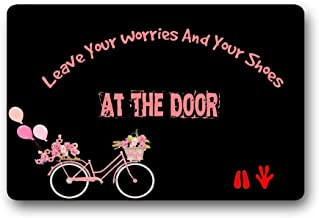 Unique Personal Design Pink Cicycle Fashionable Leave Your Worries and Your Shoes at The Door Fabric Room Mats Custom Door...