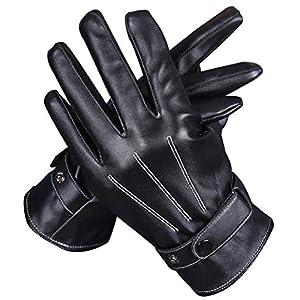 ミウォルナ 手袋 メンズ スマホ対応 裏起毛 レザー 革 グローブ タッチパネル対応 防寒 冬 黒 ブラック 防水 おしゃれ かっこいい 無地