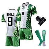 MRRTIME Jersey de Football Masculin, Ighalo 9 Fans Nigeria Jersey, 20-21 Home Game Former, Vêtements de Football Iwobi 18, Logo brodé Top + Shorts + Chaussettes + Garde-jamb Number 9-S