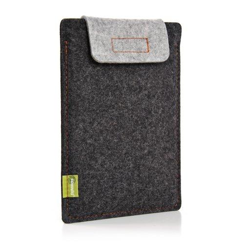 Almwild® Hülle Hülle iPad 11. Bei iPad 10.5 & 10.2 mit/ohne Smart Cover. Natur- Filz - Sleeve in Schiefergrau, Schwarz. Verschluß in Alpstein- Grau. iPad Tasche aus bayerischer Manufaktur, Dunkelgrau-Hellgrau