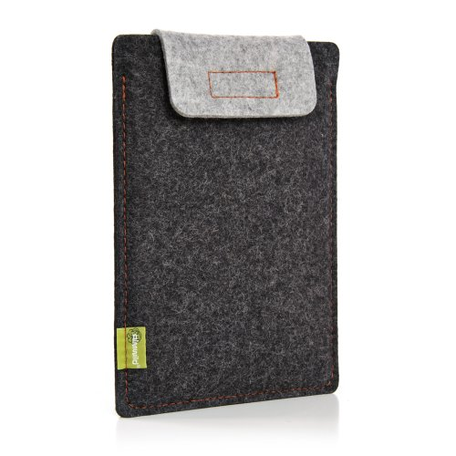 Almwild® Hülle Case iPad 11. Bei iPad 10.5 und 10.2 mit/ohne Smart Cover. Natur- Filz - Sleeve in Schiefergrau, Schwarz. Verschluß in Alpstein- Grau. iPad Tasche aus bayerischer Manufaktur
