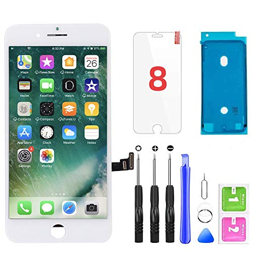 QTlier for iPhone 8 Screen Replacement, LCD Display Touch Screen Digitizer Assembly with Repair Tools+Adhesive Strips+Screen Protector for A1863, A1905, A1906 (White, 4.7 Inch)