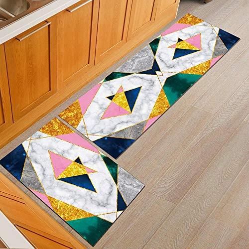 OPLJ Tapis de Cuisine Anti-dérapant Moderne Grille Maison Tapis de Table à Manger Tapis de Sol Noir Couloir extérieur Porche Tapis A19 40x60cm + 40x120cm