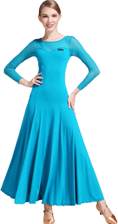 Lyrical Dance Dress for Women Modern Ball Liturgical SeeThrough Mesh LongSleeved Maxi Dress Gown Night Samb Latin