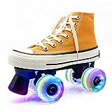 Zapatos de Lona de Patinaje Roller Skates con Luces para Mujer Y Hombre 4 Ruedas Patines CláSicos de Doble Fila para Interior Y Exterior Unisex Adultos Amarillo,40