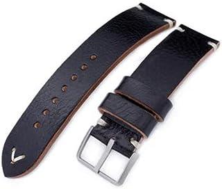 Cinturino in pelle 20mm, 21mm, 22mm MiLTAT Cinturino in vera pelle di vitello nera, cuciture beige, fibbia sabbiata