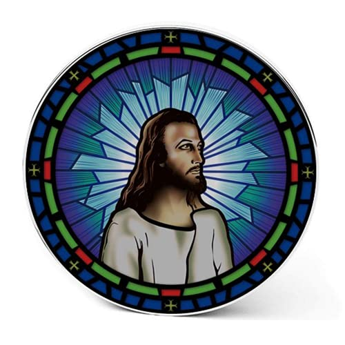 Jesus Christ Qi Wireless Charger, 8000mAh Backup Battery Pack for Wired and Wireless Charging. Portable Wireless Phone Charger with Illuminated Stained-Glass Backdrop. The Perfect Christian Gift