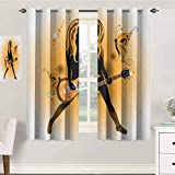 Popstar Party Drapes Girls 52x108 Inches Girl Silhouette with Hairstyle and Butterflies Playing Guitar Indo Treatments for Short Indo