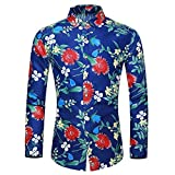 waotier Camisetas de Manga Larga Camisas para Hombre Casual Camisa Hawaiana Estampado Floral...