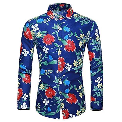 waotier Camisetas de Manga Larga Camisas para Hombre Casual Camisa Hawaiana Estampado Floral Colorido Slim Fit Camisa de Vestir de Manga Larga Blusa Tops
