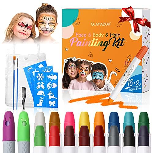 Kit Crayons Peinture pour Visage et Corps-GLAMADOR 16 Couleurs Visage Peinture des Crayons-Lavable,Sûr,Non-Toxique-2 Craie pour Cheveux,28 Pochoirs,2 Pinceaux-Parfait pour Pâques Enfant, Halloween